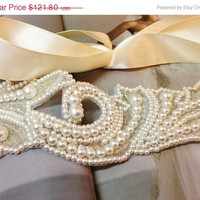 Bridal headband, pearl headband, wedding headband, Bridal sash belt- bridesmaid headband, Ivory headband
