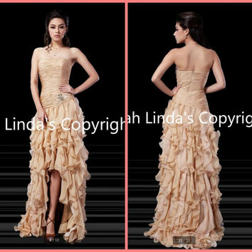 2016 stylish champagne mermaid chiffon prom dress ruffled high low formal beaded prom gowns hot sale cheap prom dresses