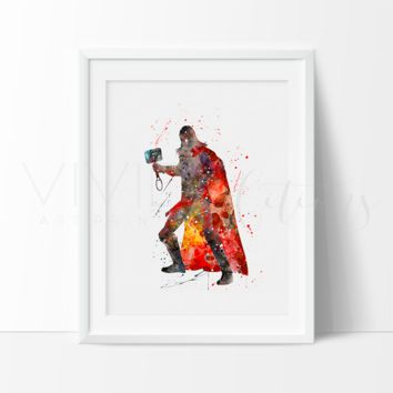 Thor Watercolor Art Print