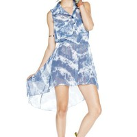 Tie-dye hi-lo dress