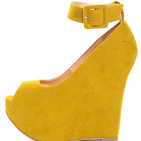 Luichiny Roll Call Yellow Peep Toe Super Platform Wedges - $85.00