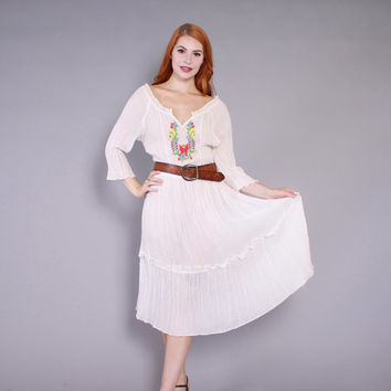 70s PEASANT DRESS / 1970s Sheer Cotton Gauze Embroidered Boho Midi Dress