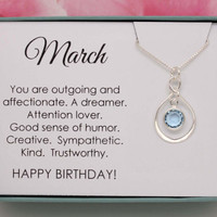 March birthday gift Birthstone necklace sterling silver infinity necklace with Swarovski birthstone in a box - gifts for her