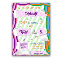 Boy and Girl Birthday Invitation - Split Birthday Invitations - Brother Sister Birthday Party Invite - Sibling Birthday - Double Birthday