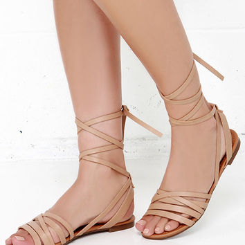 Desert Highness Natural Leg Wrap Sandals