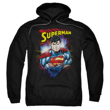 Superman Men's  Glam Hooded Sweatshirt Black Rockabilia