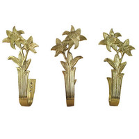 Large Brass Hooks / Vintage 70s Sculptural Flower Art / Gold Home Accent / Lilly Lillies / Hollywood Regency / Great as Tie Backs, Coat Rack