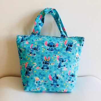 Lilo&stitch Lunch Bag Cartoon Keep Food Fresh Bag Canvas Picnic Travel Storage Bag Fashion Lunch Bags for Women Girls Ladies Kid