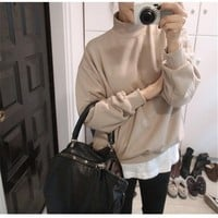 Winter half-collar shirt slim solid color loose sweater hedging thick fleece sweatshirts