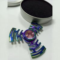 Colorful Alloy  Hand Spinner Tri Fidget Desk Focus Toy EDC For Kids/Adults mx3