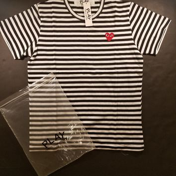 cc spbest CDG Comme des Garcons Play Stripped Tee