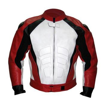 Red Motorcycle Biker Racing Premium Genuine Real Leather Jacket with White Front