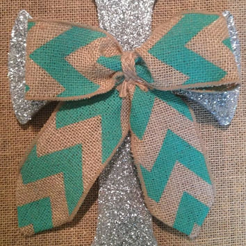 Handmade Silver Glitter And Chevron Bow Cross Wall Decor
