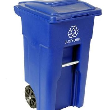32 Gallon Blue Commercial Heavy Duty Rollout Recycler Trash Can Container