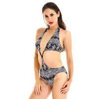 Women Floral Printed Sexy Floral Printed High Waisted Steel Pallets Underwire Two-Piece Erotic Bikini Swim Suit Beach Bathing Suits Swimwear _ 13269
