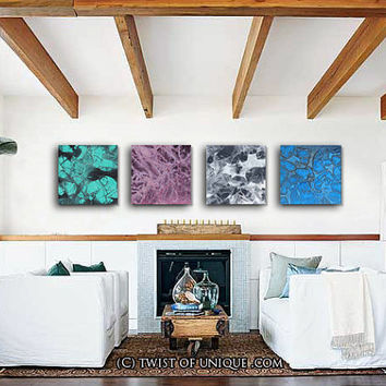 Big Abstract Painting, Original 4 square Abstract Paintings , Large Abstract Wall art -Turquoise, Dark purple, Dark Gray, Dark blue, Black