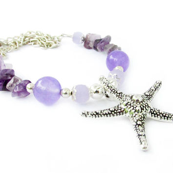 Starfish Necklace, Purple Necklace, Starfish Jewelry, Sea Life Necklace, Beach Necklace, Beach Jewelry, Beach Gift, Beach Lover Gift