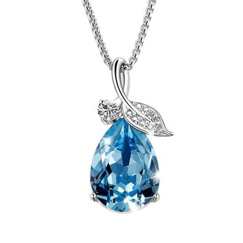 """Valentine Day Gifts """"Teardrop of Angel"""" Pendant Necklace Jewelry with Blue Swarovski Crystals, Jewelry for Women Gifts for Mom"""
