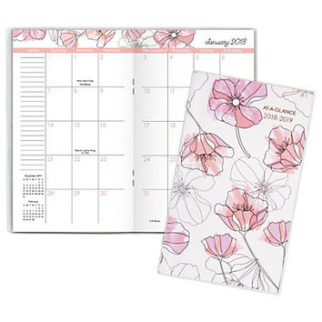 "AT-A-GLANCE® Blush 2-Year Monthly Pocket Planner, 3 5/8"" x 6 1/16"", Multicolor, 2018 - 2019 (1041-021-18) Item # 271191"
