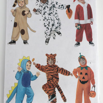 Childrens Halloween Costume Pattern New uncut Butterick all sizes puppy dalmatian Santa dinosaur tiger jack o lantern pumpkin all sizes