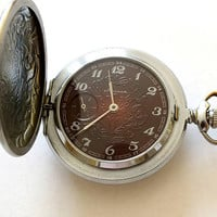 Pocket Watch MOLNIJA Firebird. Metal Case With Lid Pocket Watch For Men. Vintage Phoenix Mens Pocket Watch, Original Chain Gift For Him