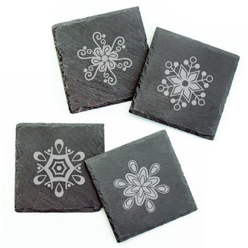 Abstract Snowflake Square Slate Coasters - Set of 4
