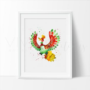 Ho-Oh, Pokemon Watercolor Art Print