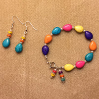 Fun Colors Beaded Bracelet & Earrings Set