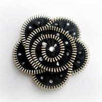 Zipper Flower Brooch, Black and silver Polka Dots,  hand painted, Zipper Pin. Approx 2,8 in/ 7 cm.- eco friendly, recycled jewelry