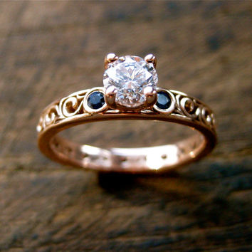 Diamond & Blue Sapphire Engagement Ring in 14K Rose Gold with Vintage Style Scrolls Size 5/3mm