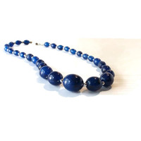 BLUE BEADED NECKLACE,Vintage Beaded Necklace, women's necklace, women's beaded necklace, gift for her, Mother's Day gift, jewelry for mom