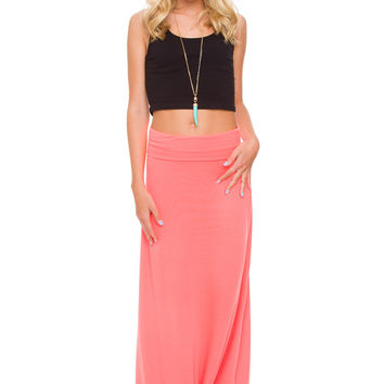 Cady Maxi Skirt - Neon Coral