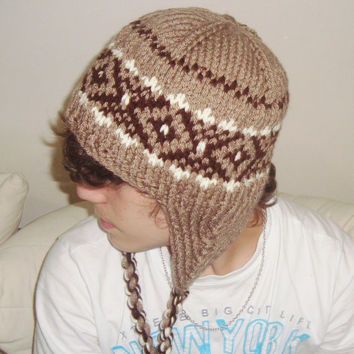 Hand Knit Hat Men's Hat with Earflap Winter Accessories in Cinnamon, Pale Taupe, Brown, Cream