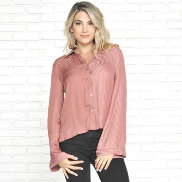 Split Personalities Satin Button Up Blouse in Mauve