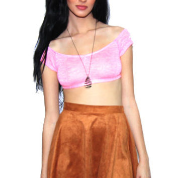 Reverse Faux Suede Laser Cut Skirt in Tan