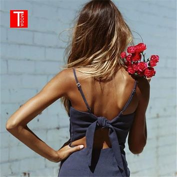 T MODA Backless Beach Summer Dress Women Sundress Bow Casual Linen Sexy Dress Slim Fit Bodycon Short Dress Vestidos 10 colors