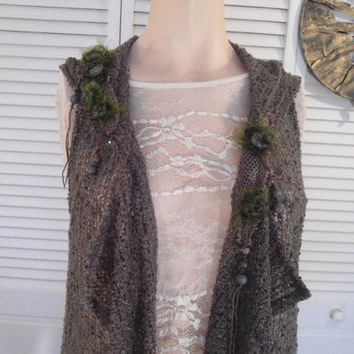 Size Small Womens Crocheted Khaki Brown Hooded Vest embellished hippie boho bohemian gypsy cowgirl glam style clothes clothing