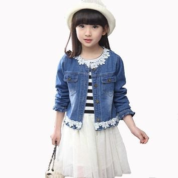 2018 Spring Fall Children's Fashion Suit Set of 4-13 Year-old Girl Lace Stitching denim Jacket+striped Dress Two-piece Suit