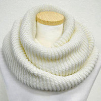 White Knit Funnel Scarf = Thanksgiving Christmas Gift