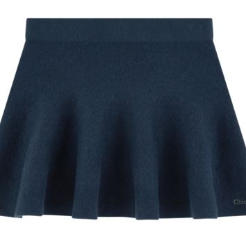 Chloe Girls Navy Blue Short Wool Skirt