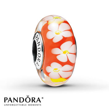 Pandora Glass Charm Tropical Flower Sterling Silver