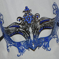 Halloween Masquerade Mask - Laser Cut Venetian Masquerade Mask in Black and Blue
