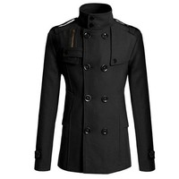 Men Double Breasted Trench Pea Coat Coat Tops Outwear Jacket Overcoat