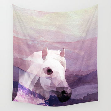 Horse Sunset Pink Polygonal Tapestry Wall Hanging
