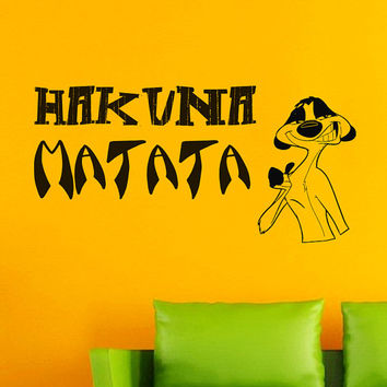 Wall Decals Quote Decal Hakuna Matata The Lion King Sticker Vinyl Decals Wall Decor Murals Z351