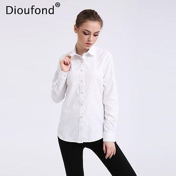 Dioufond Solid Oxford Mint Women Blouses Long Sleeve Causal Blouse Shirt Simple Design Ladies Office Shirt Summer S-5XL