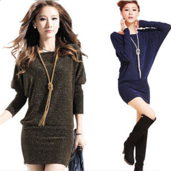 New 2016 Women Casual Dress Plus Size Women Dress Bat Sleeve Knit Autumn Winter Dress Vestidos Gold / Blue / Silver vestidos