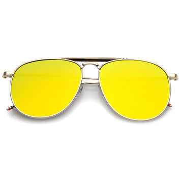 Oversize Round Mirrored Flat Lens Aviator Sunglasses A797