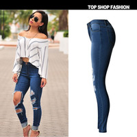 Hot New high waisted washed ripped hole jeans pencil pants women trousers denim full length plus size for womans feminina