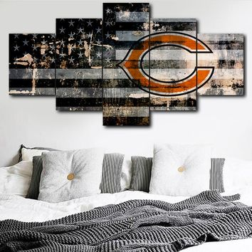 Modular Picture Wall Art Canvas Painting Print 5 Pieces Chicago Bears Sports Logo Poster Room Home Decor